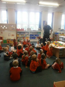 We also had a visit from a police officer.