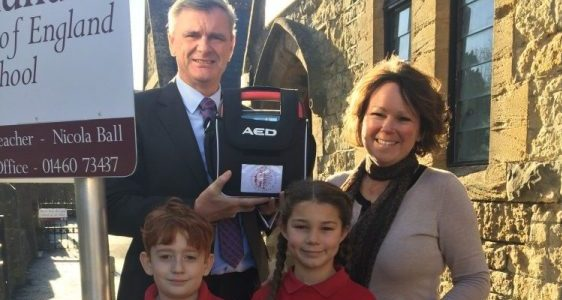Defibrillator sponsored by A J Wakely & Sons